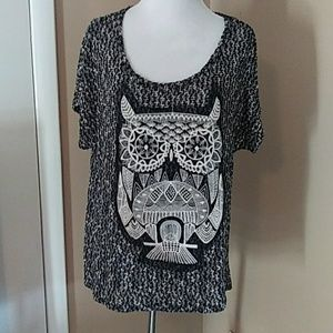 Blu Planet owl sweater top Size L